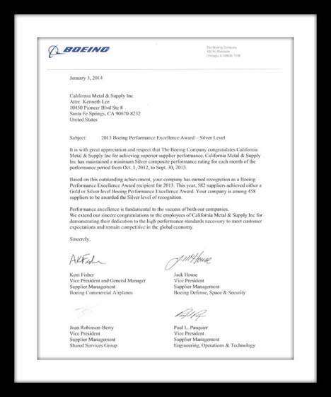 Boeing Supplier Excellence Award Letter